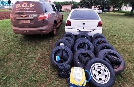 Left or right 21 contrabando de 48 pneus e 20 pcts cigarros vw gol ponta por